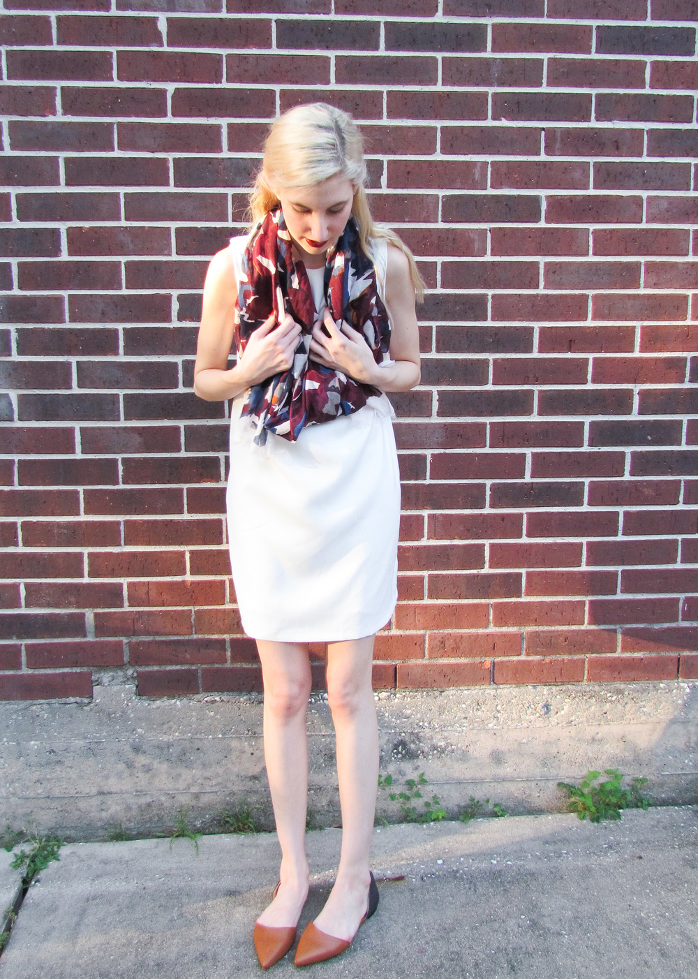 Zara white shift dress, loft watercolor floral scarf, clinique cola pop lipstick, loft pointed toe d'orsay flats