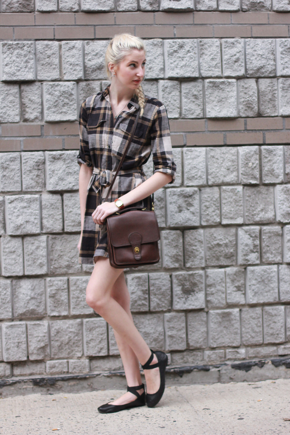 LOFT flannel shirtdress, vintage citizen watch, audrey brooke black ballet flats, loft diamond back earrings