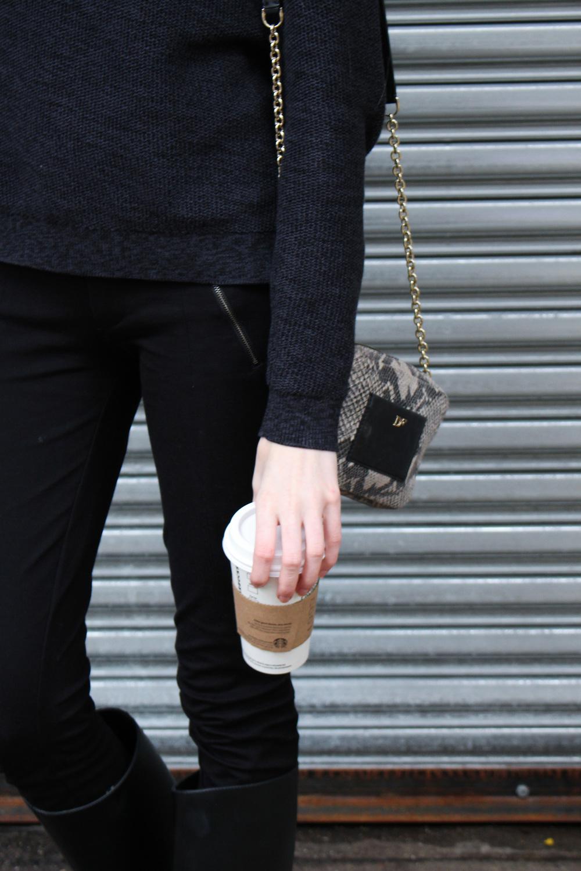 Sweater -  LOFT  / Pants -  J.Crew  / Rain boots -  Barneys  / Necklace -  LOFT  / Headband - Francesca's -  Similar  / Lipstick -  Elizabeth Arden Rustic Red  / Bag -  DVF