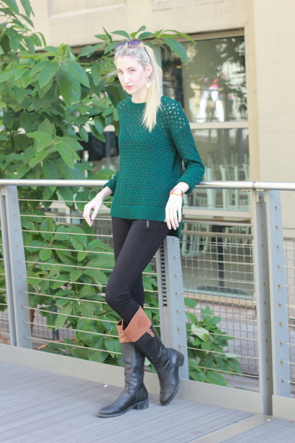 LOFT green sweater, J.Crew pixie pants, vintage citizen watch, franco sarto riding boots, LOFT cat eye sunglasses, LOFT fringe earrings