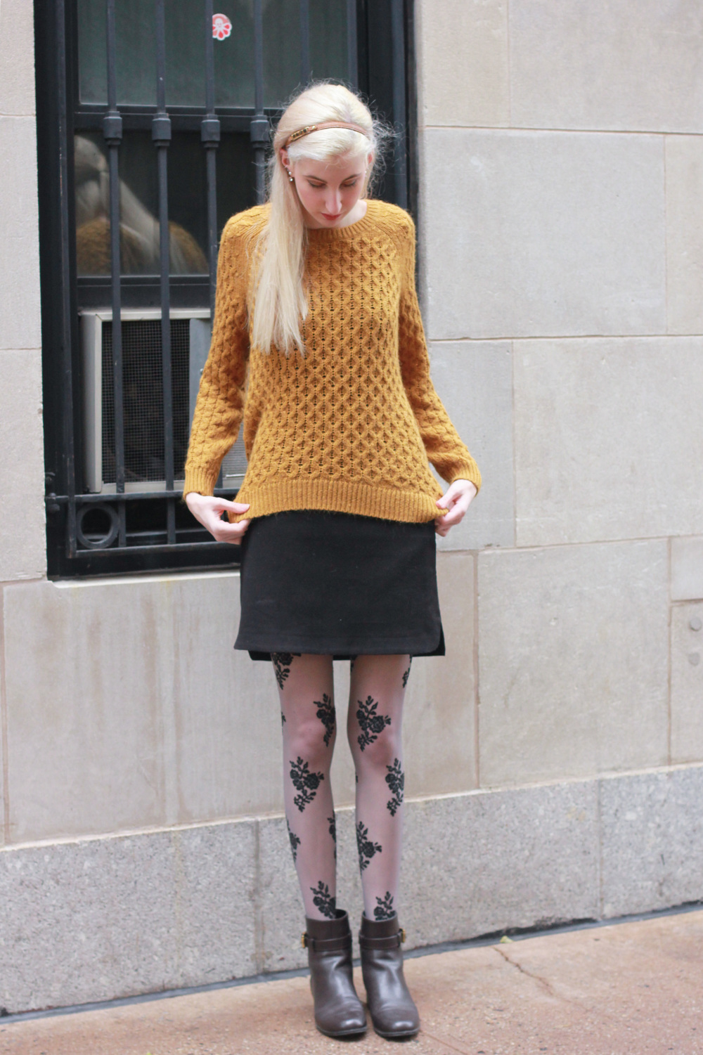 Sweater - H&M (similar) / Skirt - LOFT (similar) / Tights - Forever21 (similar) / Boots - TJ Maxx (similar) / Headband - Henri Bendel (similar) /