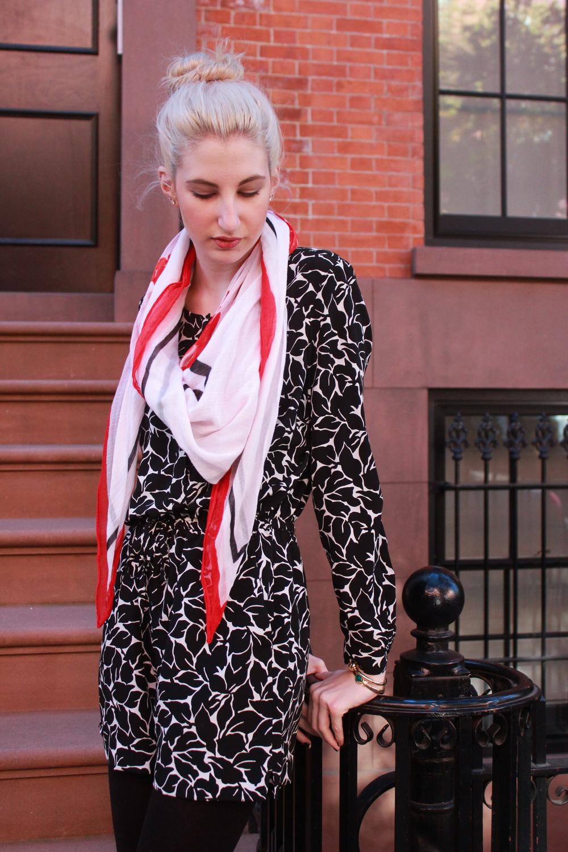 LOFT Floral romper, H&M tights, Franco Sarto pointed toe ballet flats, LOFT La Mer scarf, Mantra band, LOFT knot bracelet, kendra scott bracelet.