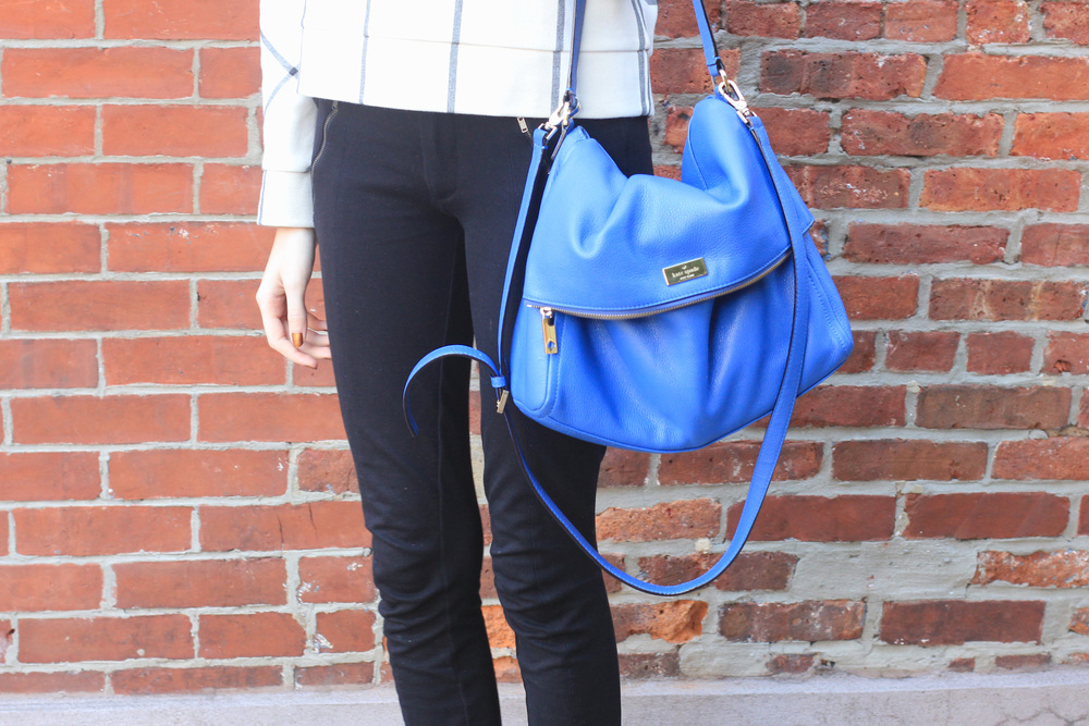 LOFT sweater, J.Crew snap front pixie pants, black ballet flats, Forever21 necklace, kate spade cobalt bag