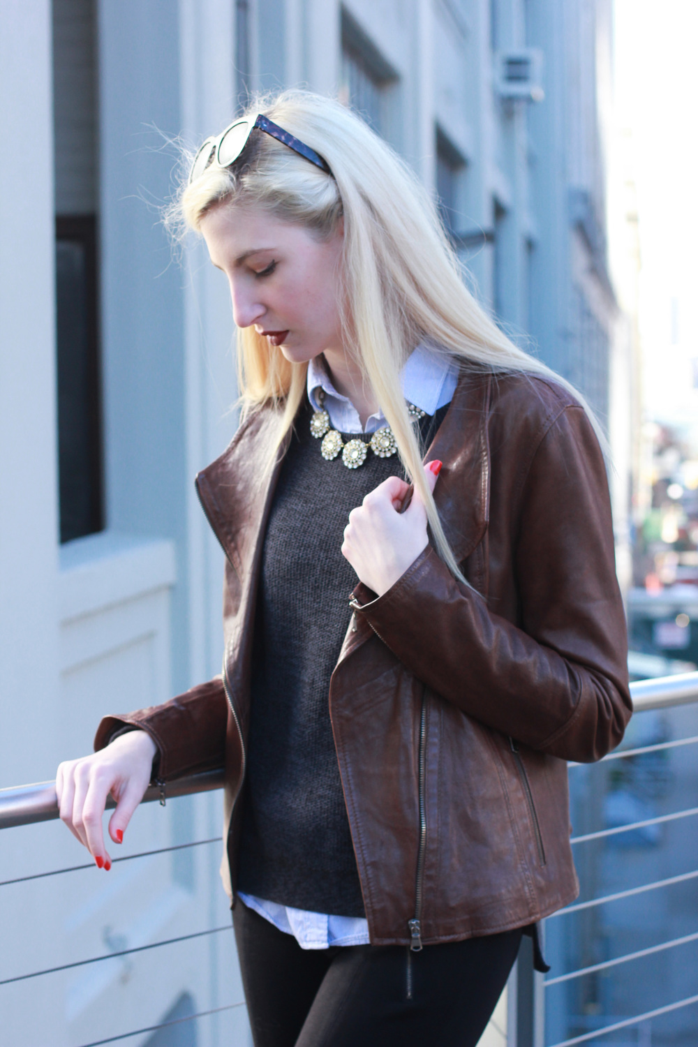 LOFT mixed media sweter, j.crew factory blue pinstripe classic button down, J.Crew Factory layered circle crystal statement necklace, brown leather jacket, J.Crew pixie snap front pants, brown leather ankle boots, Clinique Color pop lipstick in Cola Pop