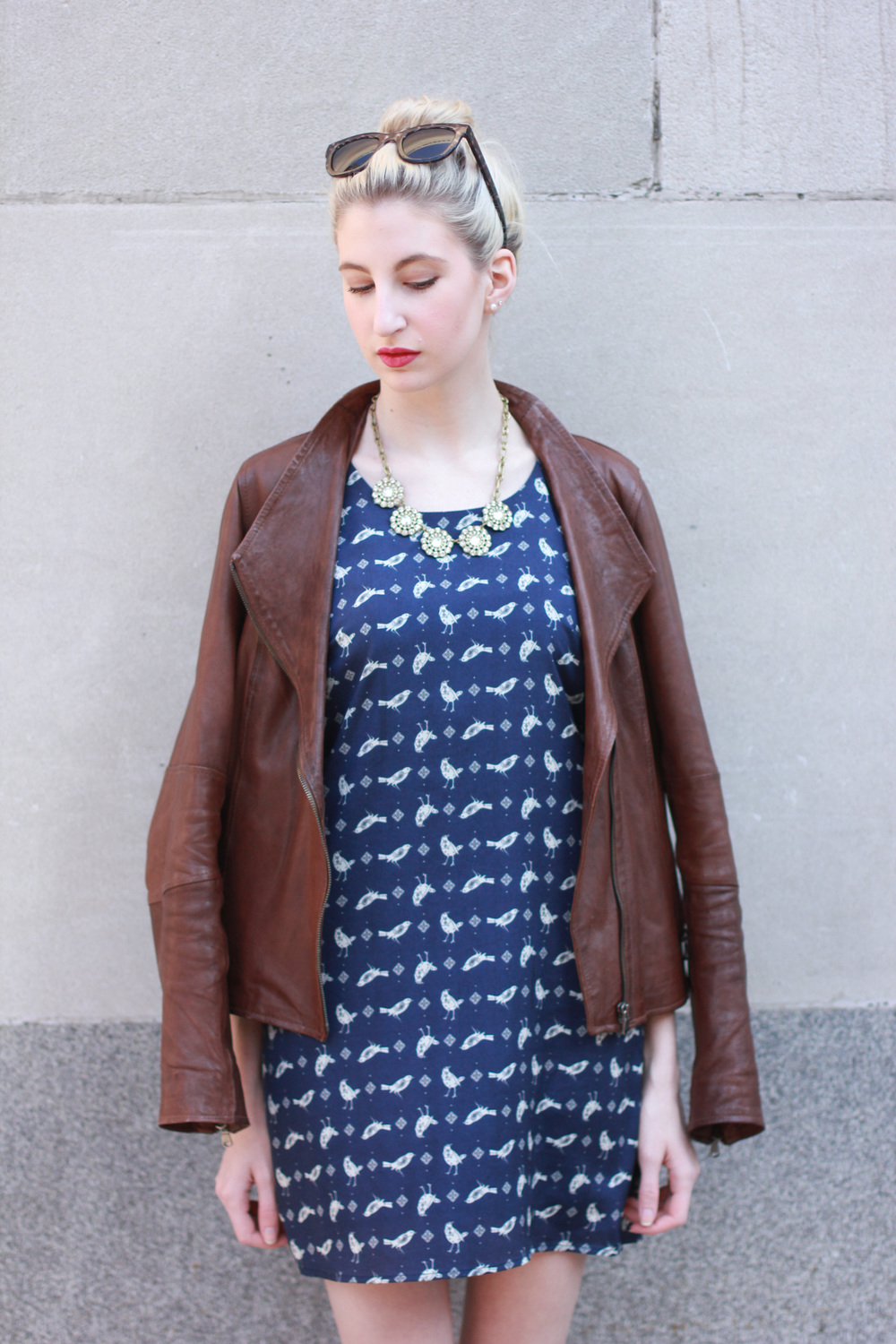 Bird Dress, leather jacket, J.Crew crystal necklace, Clinique Punch pop lipstick, LOFT brown and black d'orsay flats