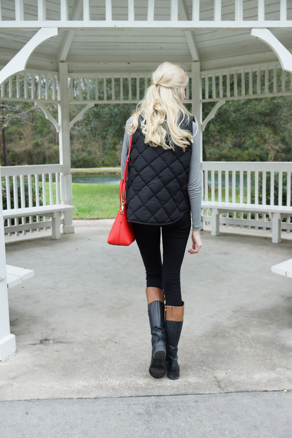 LOFT striped longsleeve, J.Crew Factory crystal statement necklace, J.Crew Excursion puffer vest, J.Crew snap front pixie pants, Franco Sarto riding boots, Jouer hydrating lipstick in Meredith, Kate Cedar Street Maise