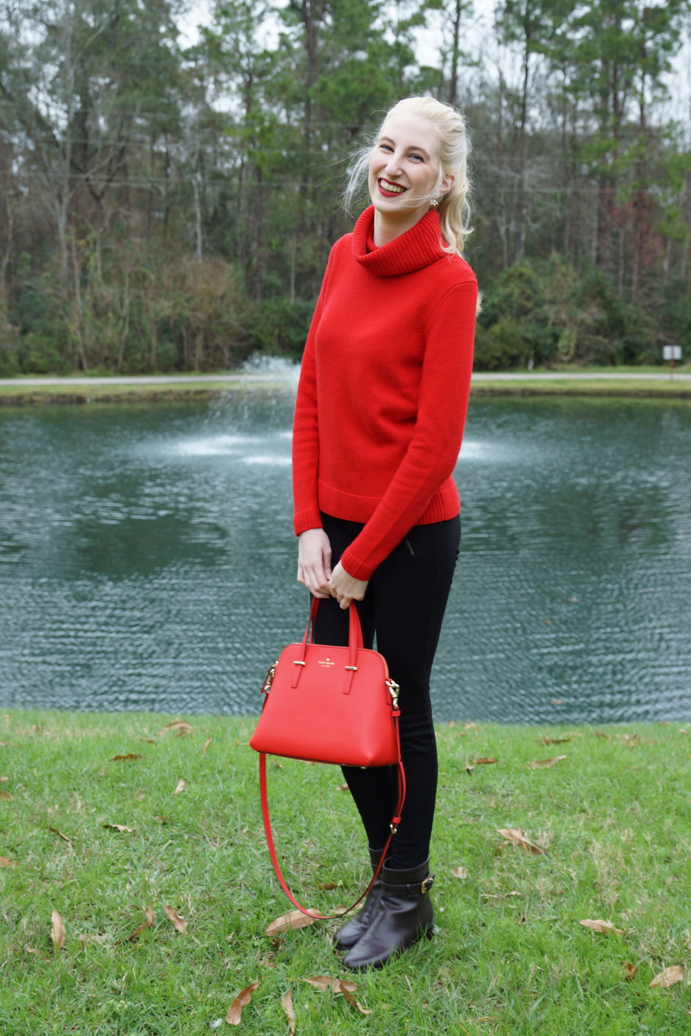 J.Crew Factory turtleneck sweater, Stella & Dot earrings, NARS matte lip pencil in Cruella, J.Crew pixie pants, TJ Maxx ankle boots, Kate Spade Cedar Street Maise
