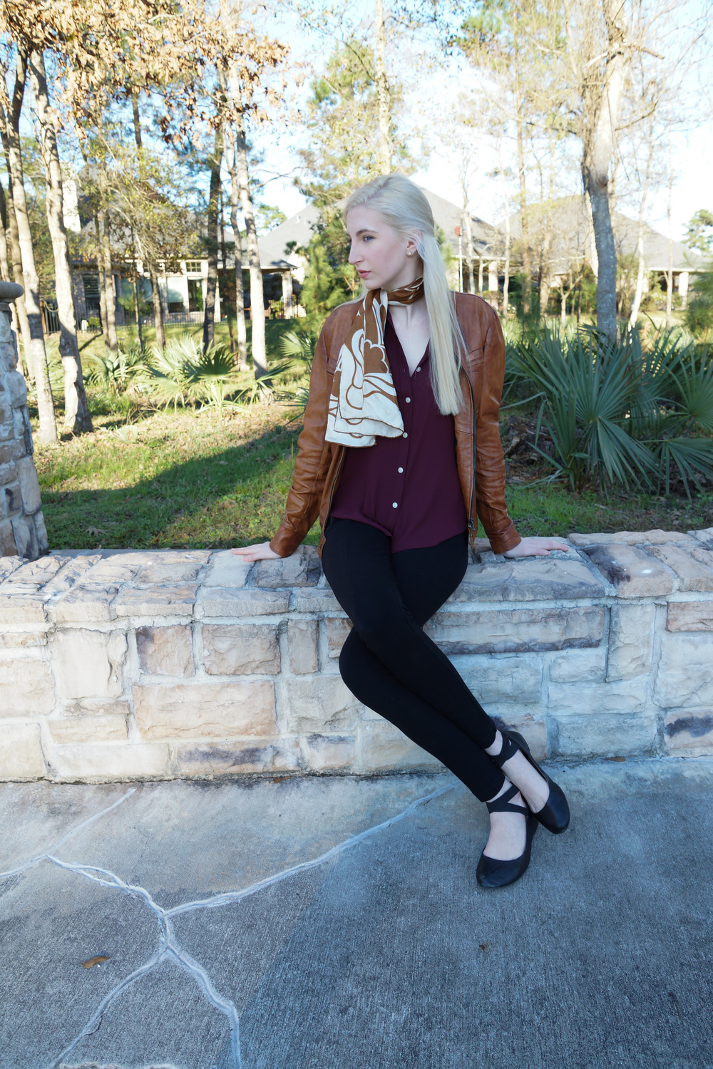 LOFT burgundy button down, brown leather jacket, j.crew snap front pixie pants, black ankle strap ballet flats, vintage brown scarf, stella & dot earrings, jouer lipstick in Meredith