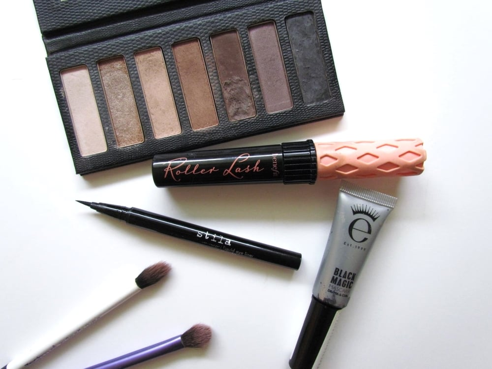What's in my Makeup Bag - Southern New Yorker - LORAC skinny palette in Black, Benefit Rollerlash mascara, Eyeko black magic mascara, STILA stay all day eyeliner, real techniques eye brushes