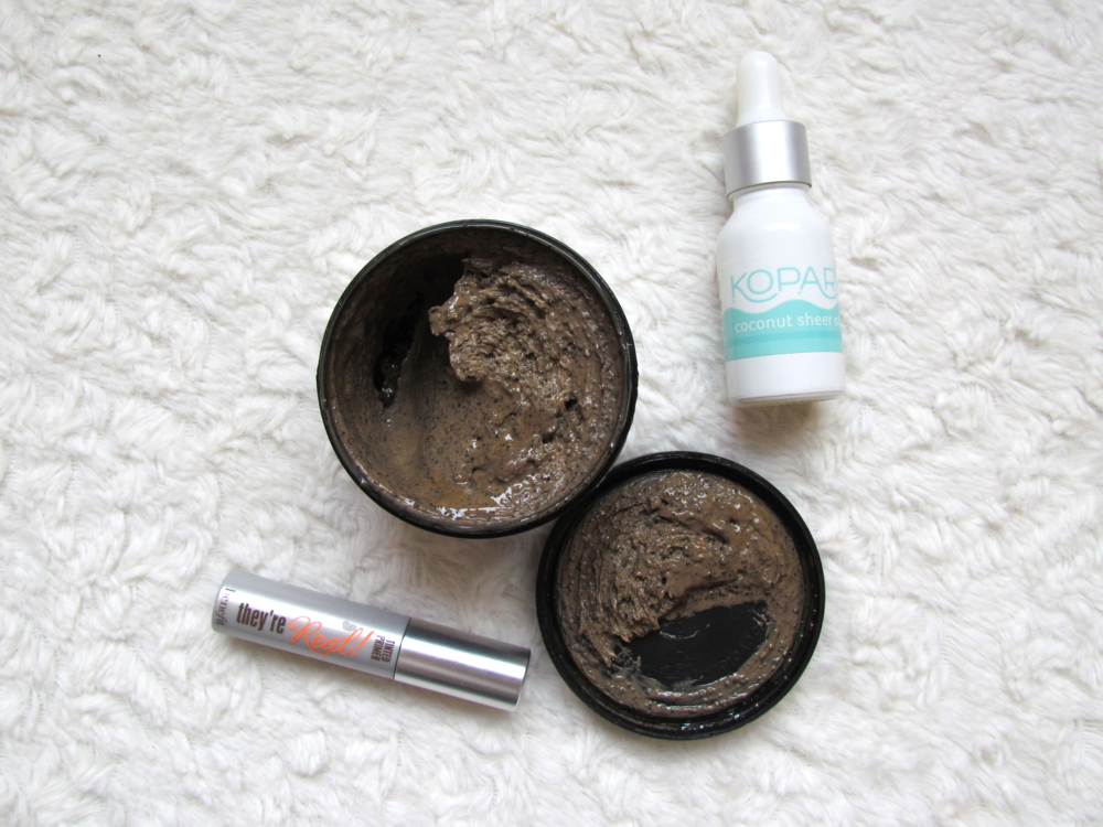 Benefit tinted lash primer, LUSH cosmetics cup o' coffee facial mask and scrub, kopari sheer coconut oil