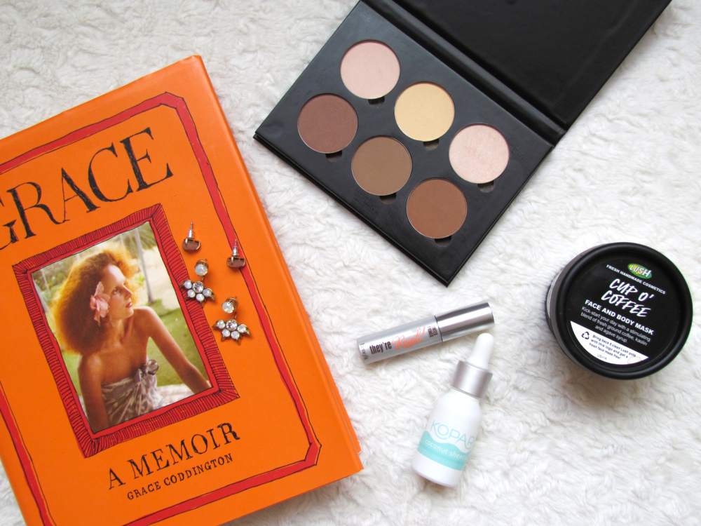 Grace Coddington Memoir, Stella and Dot Eva Ear jacket, Benefit tinted lash primer, LUSH cosmetics cup o' coffee facial mask and scrub, anastasia beverly hills contour palette, kopari sheer coconut oil