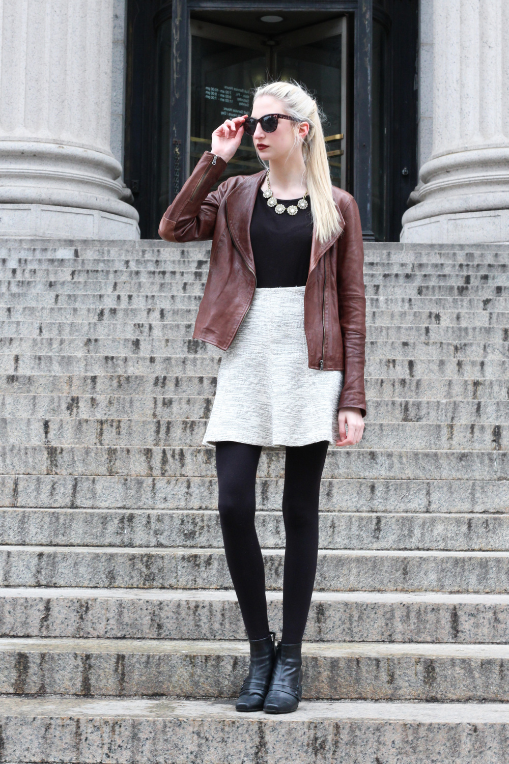 LOFT tweed knit circle skirt, J.Crew Factory crystal circle necklace, loft square sunglasses, black heeled ankle boots, Clinique Color + Primer in Cola Pop, leather jacket - Southern New Yorker - Audra Koch