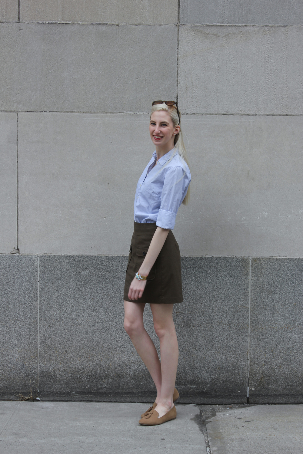 J.Crew Pinstripe Button down, LOFT green army skirt, J.Crew Factory tan Cora loafers, J.Crew Factory