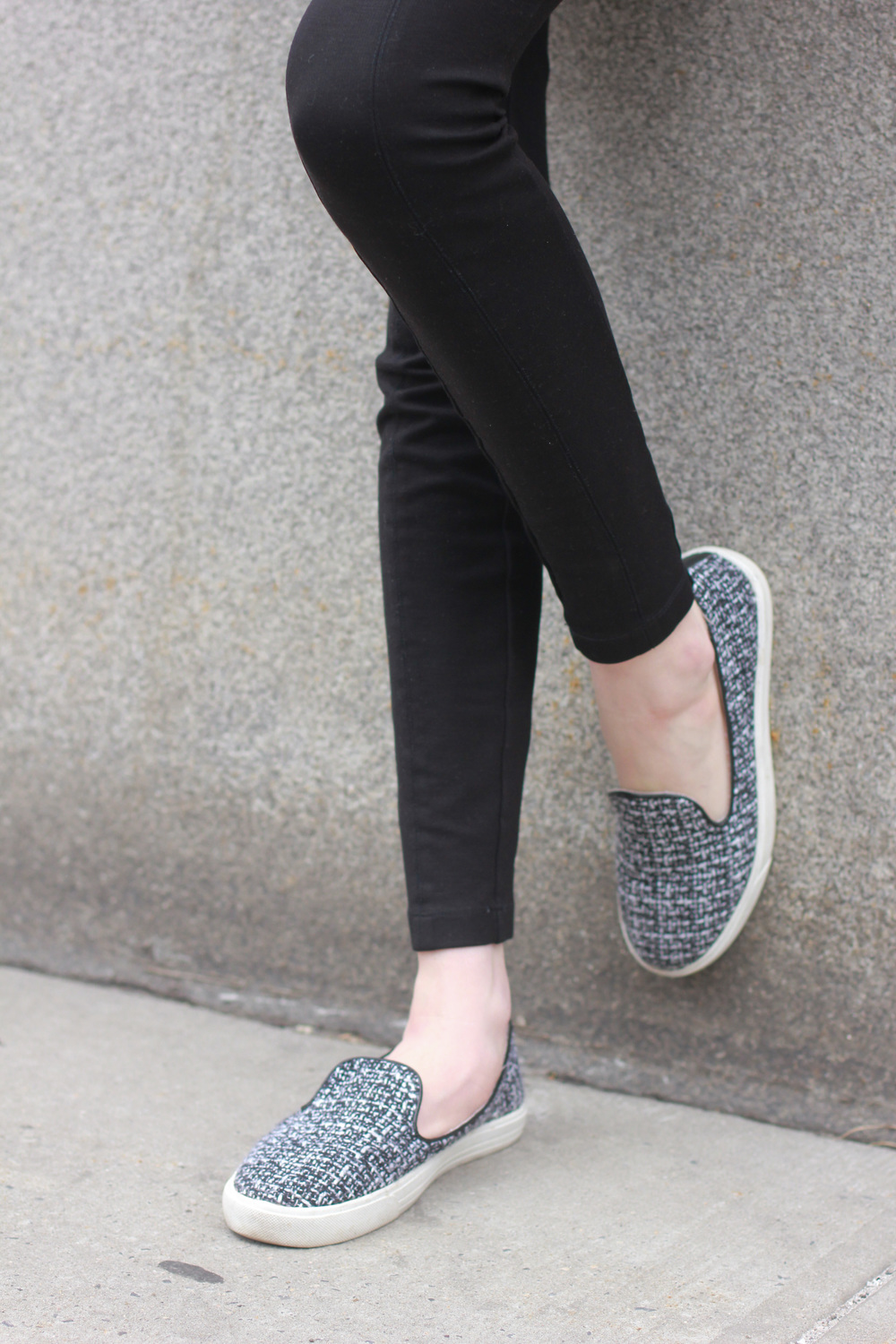J.Crew pixie pants, LOFT black top, J.Crew factory tweed sneakers, j.crew factory crystal necklace, LOFT bomber jacket
