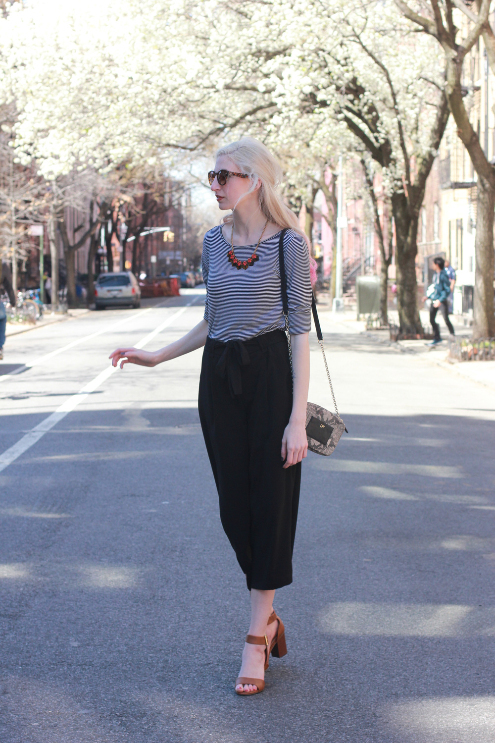 LOFT striped longsleeve top, Zara black high waisted culottes, Target brown black heel sandals, J.Crew tortoiseshell statement necklace, DVF micro milo crossbody bag