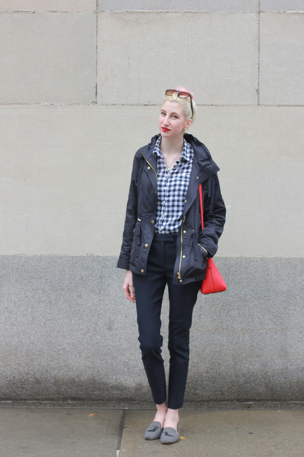 J.Crew Navy gingham button down shirt, LOFT navy raincoat, J.Crew navy ryder pants, J.Crew Factory addie horse loafers, Kate Spade Cedar Street Maise in bright poppy, NARS matte lip crayon in Cruella