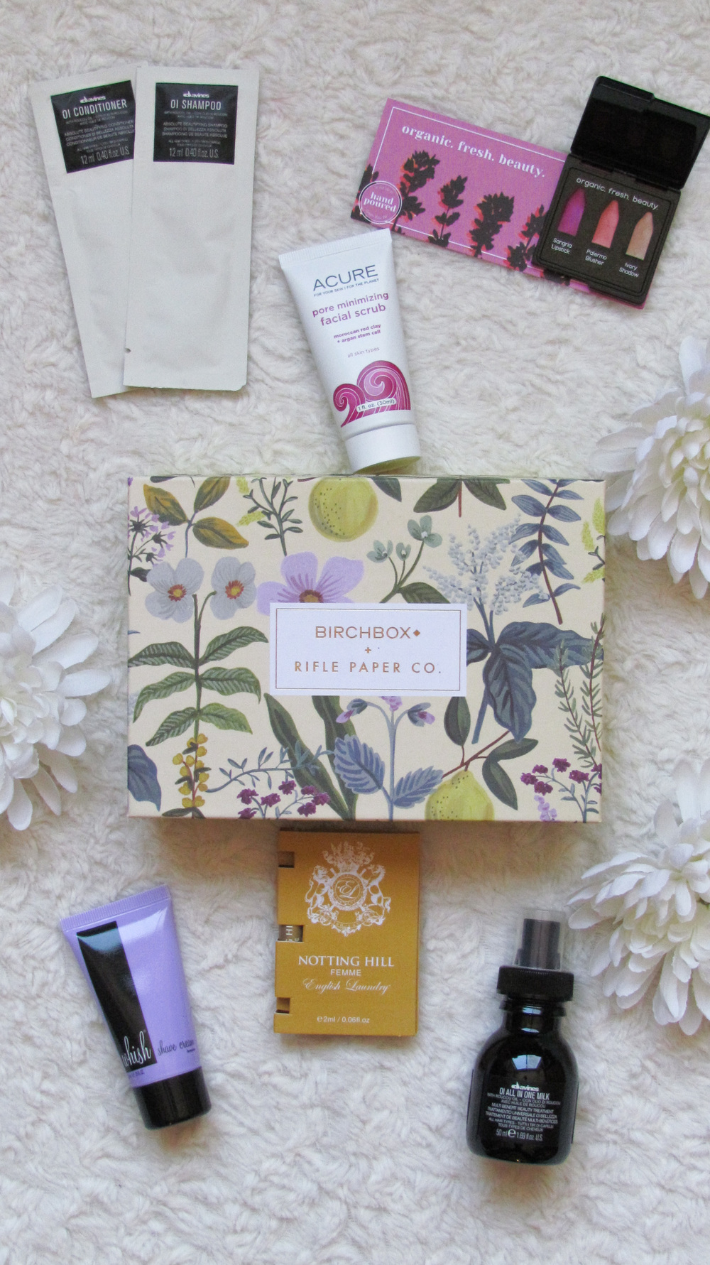 Birchbox - Davines Oi shampoo, conditioner, and hair milk, Au Naturale cosmetics trio set, Whish shave cream, English Laundry Notting Hill Femme Fragrance, Acure Organics pore minimizing facial scrub