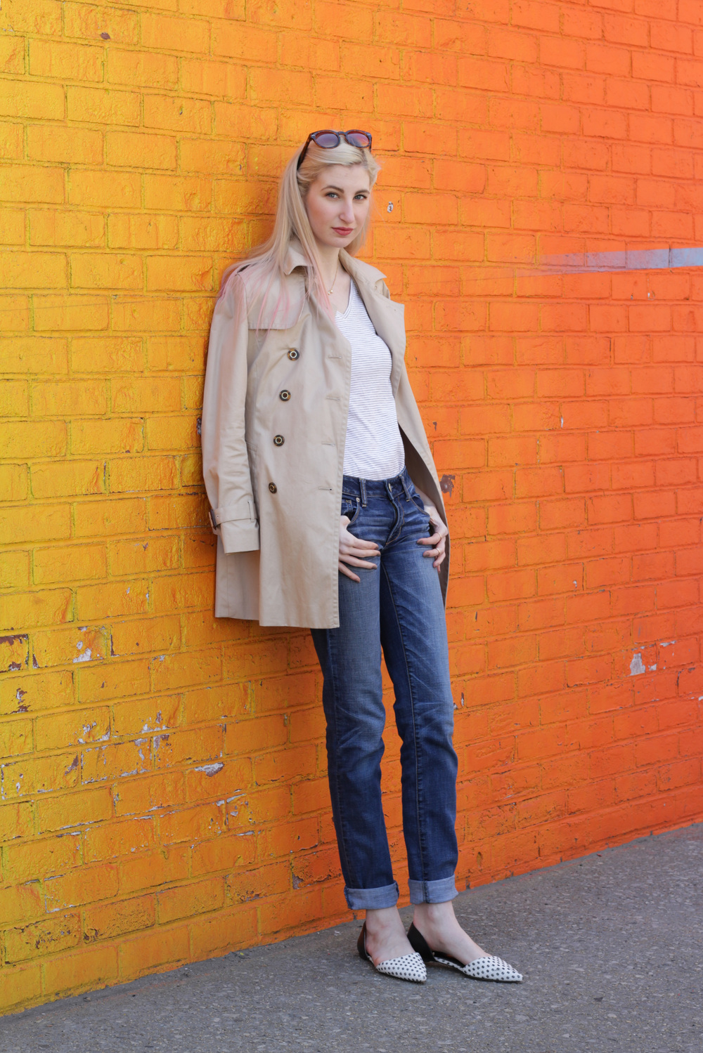 American Eagle jeans, LOFT striped v-neck tee, Banana Republic trench coat, LOFT pointed-toe d'orsay flats, Kate Spade Cedar Street Maise, sophie harper pave z ring - Audra Koch - Southern New Yorker