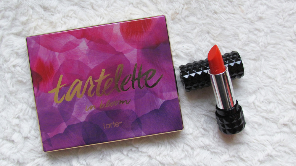 April Favorites - Tarte In Bloom Palette and Kat Von D lipstick in a-go-go
