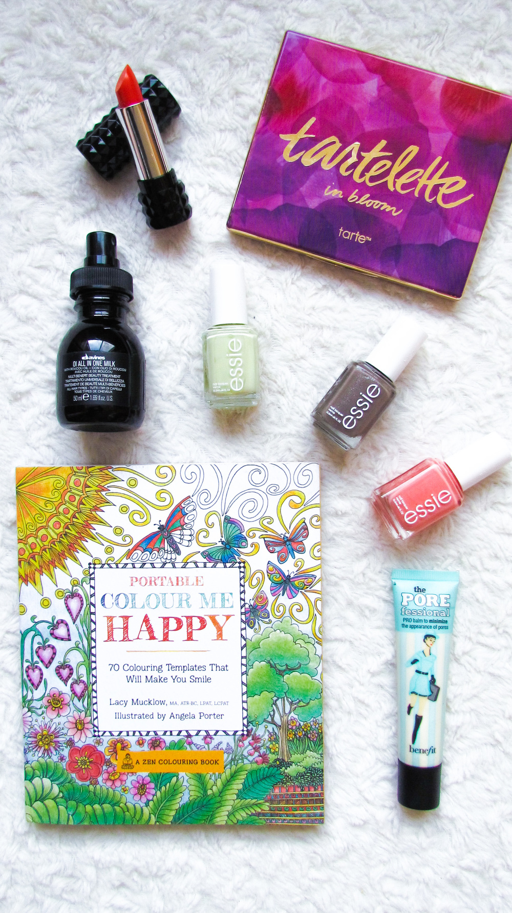 April Favorites - Essie Polish in Tart Deco, Mochachino, & Chillato, Benefit Porefessional, Kat Von D Lipstick, Rocksbox, Adult Coloring Books, Tarte In Bloom Palette