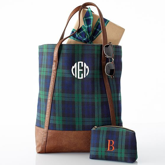 Mark & Graham monogrammed plaid tote bag - Southern New Yorker