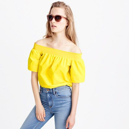 bright lemon off the shoulder J.Crew top
