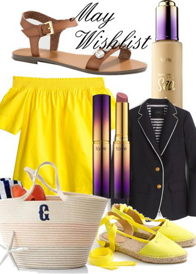 May wishlist - Southern New Yorker - Tarte, J.Crew, Mark & Graham, sandlas, espadrilles, waterproof makeup, spring, summer, beach, blazers,