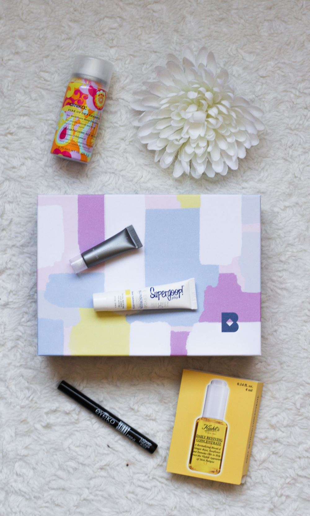 May Birchbox - Eyeko Skinny Liquid Liner, Amika Perk Up Dry Shampoo, Supergoop Everyday SPF 50 Sunscreen, Well People Concealer, and Kiehl's Daily Reviving Concentrate - Southern New Yorker