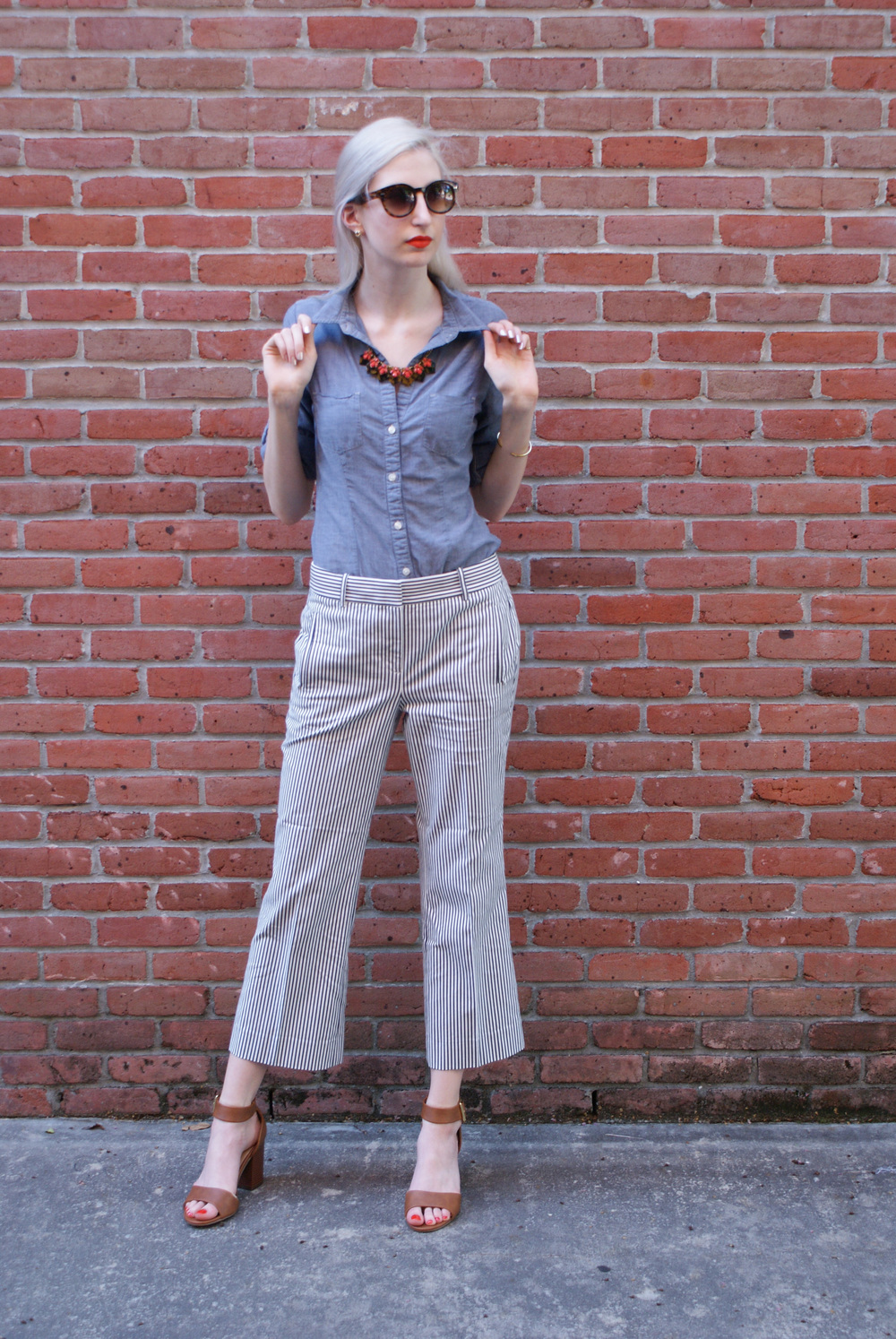 J.Crew Seersucker Teddie Pant, Chambray button down shirt, merona target ankle strap block heel sandals, J.Crew tortoise statement necklace, Kat Von D orange lipstick