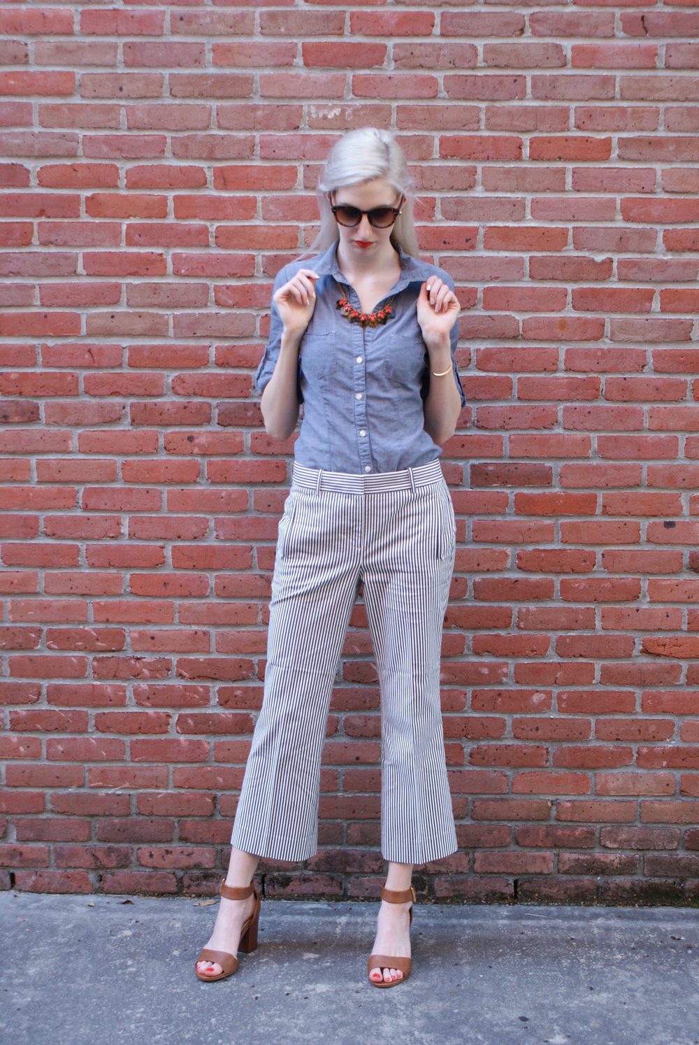 J.Crew seersucker teddie pant, chambray button down, J.Crew tortoiseshell necklace, brown block heeled sandals