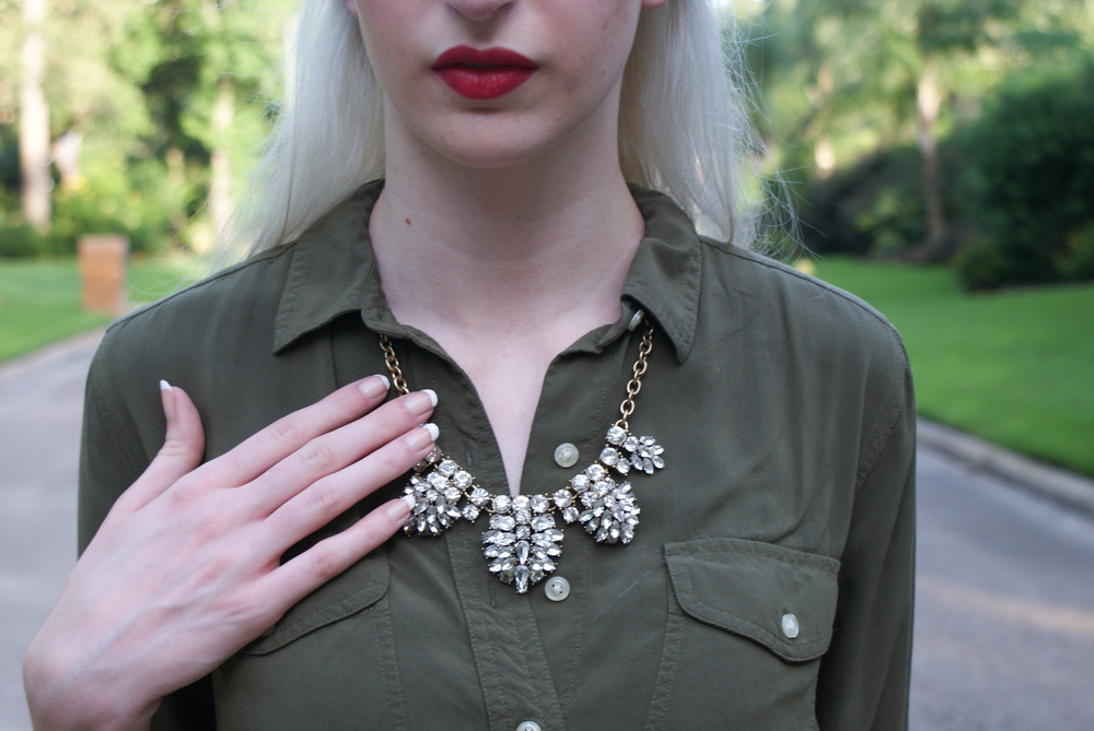 LOFT Army Green button down, J.Crew crystal statement necklace, brown block heel sandals, Kate spade cedar street maise, Urban Decay lipstick in F-Bomb