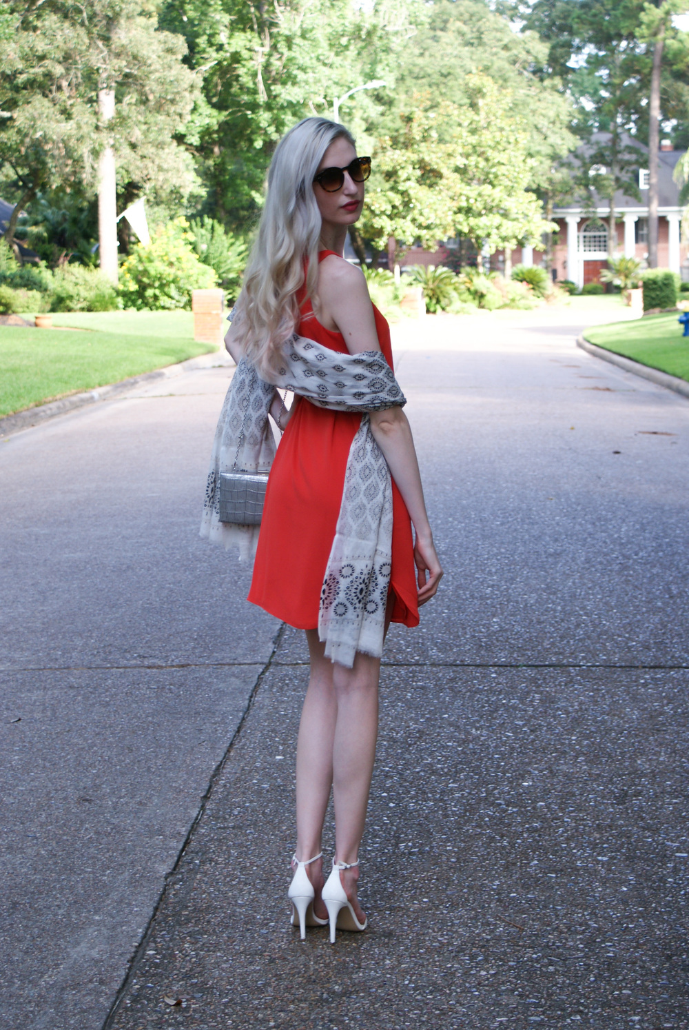 LOFT orange dress, tribal print sarong wrap, steve madden heeled sandals, spring wedding look for women
