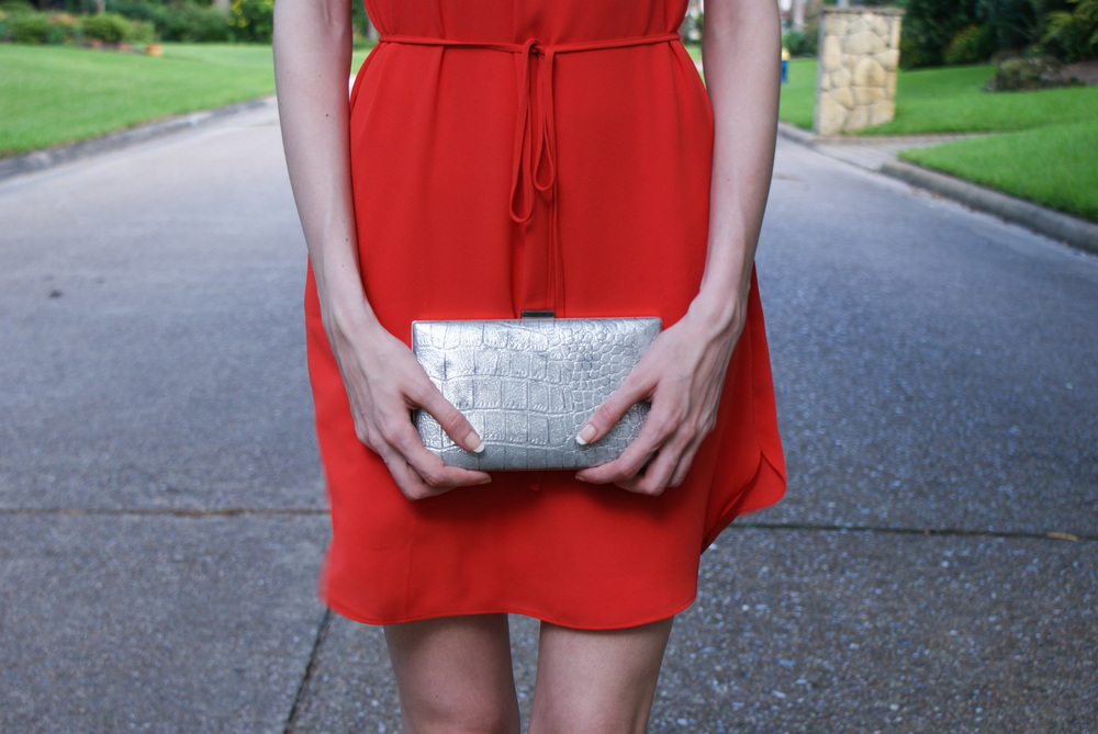 Dress - similar / Shoes - Steve Madden / Bag - similar / Lipstick - Revlon (Devotion) / Wrap - Hat Attack (via Popsugar Box)