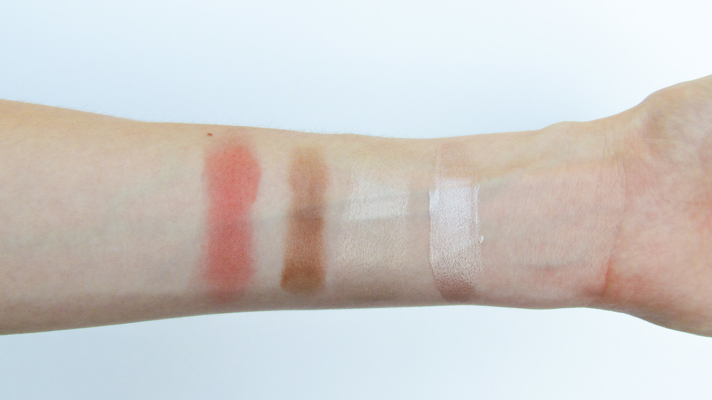 Left to Right: Tarte in Captivated, BareMinerals in faux tan, Glossier Haloscope, L'Oreal Lumi in Glacé