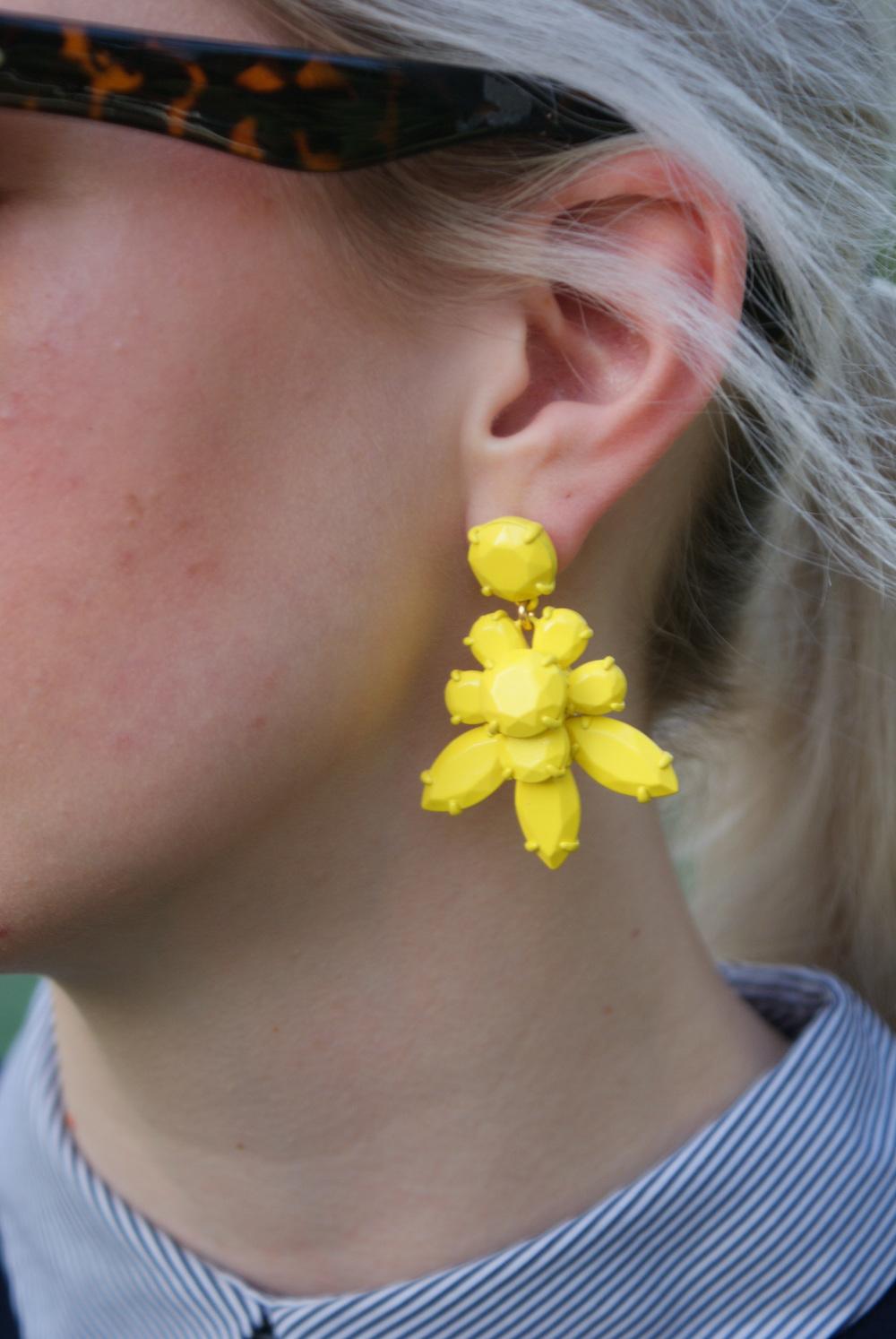Zara navy preppy dress, loeffler randall rider bag, J.Crew addie loafers, J.Crew yellow statement earrings