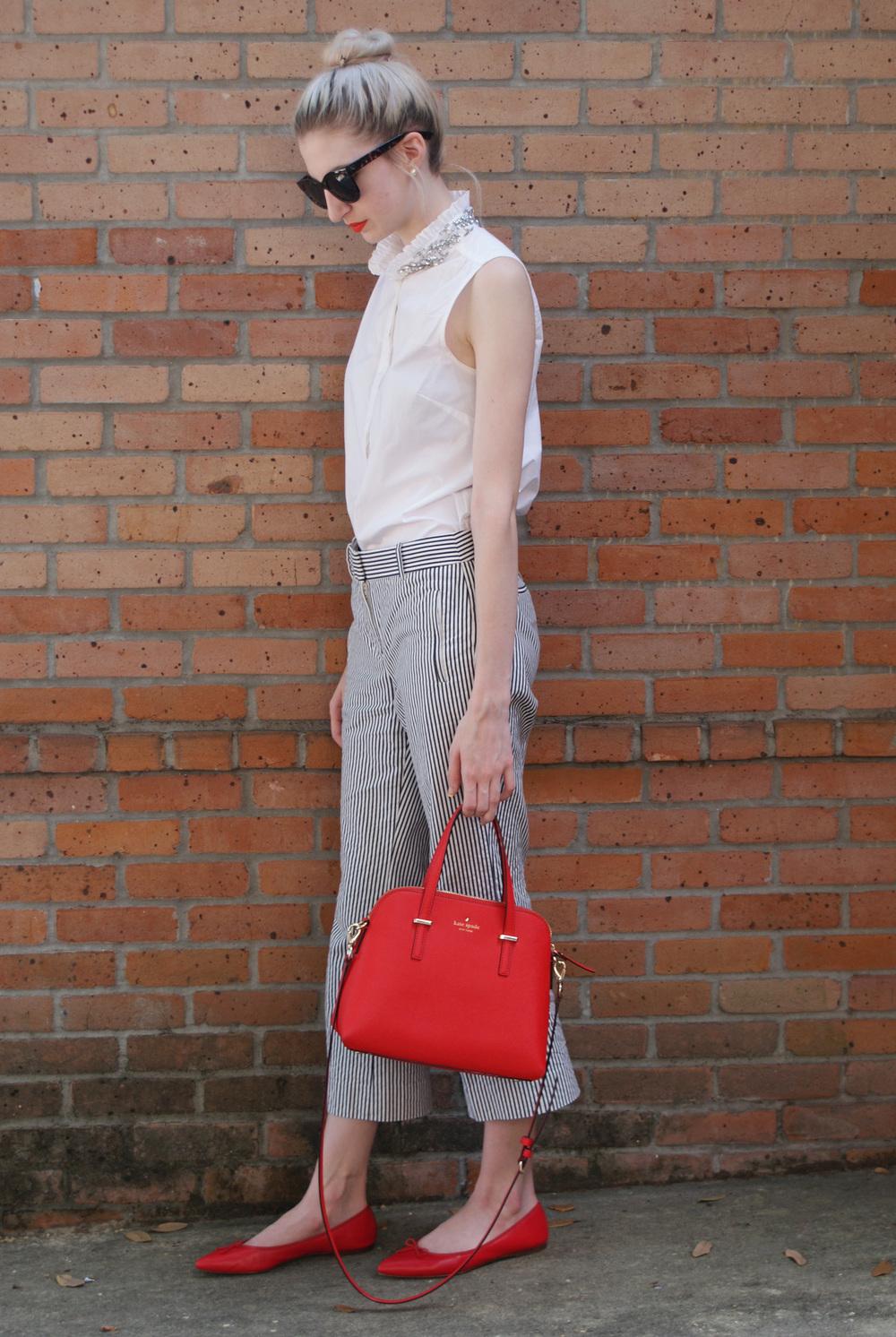 J.Crew embellished ruffle collar top, seersucker teddie pant, red gemma flats, Kate Spade Cedar street maise, Kat Von D studded kiss lipstick in a-go-go