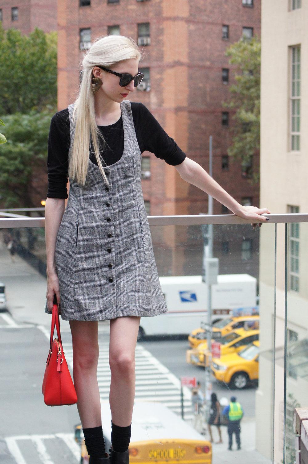 Audra Koch - vintage tibi tweed apron dress, loft black longsleeve, Next black heeled ankle boots, kate spade cedar street maise, vintage earrings, loft audrey hepburn sunglasses - Highline Park New York City