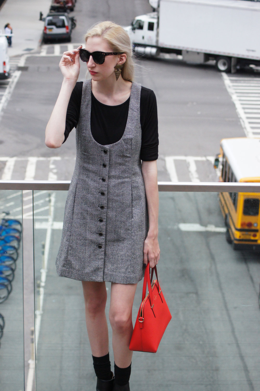 vintage tibi tweed apron dress, loft black longsleeve, Next black heeled ankle boots, kate spade cedar street maise, vintage earrings, loft audrey hepburn sunglasses - Highline Park New York City
