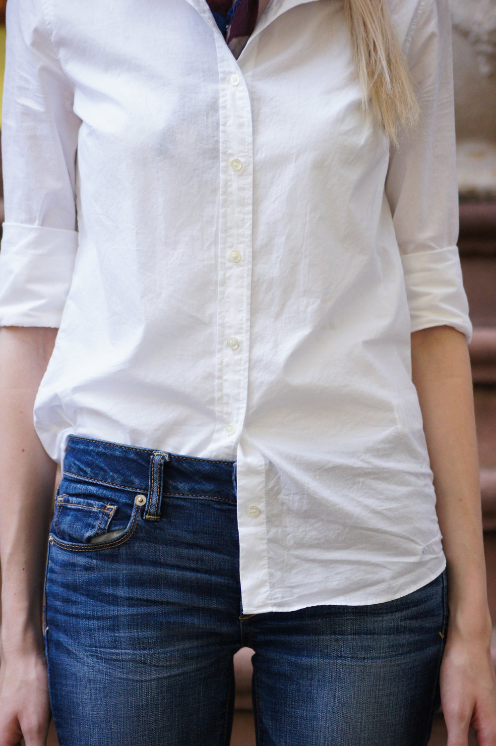 J.Crew white perfect shirt, half tucked