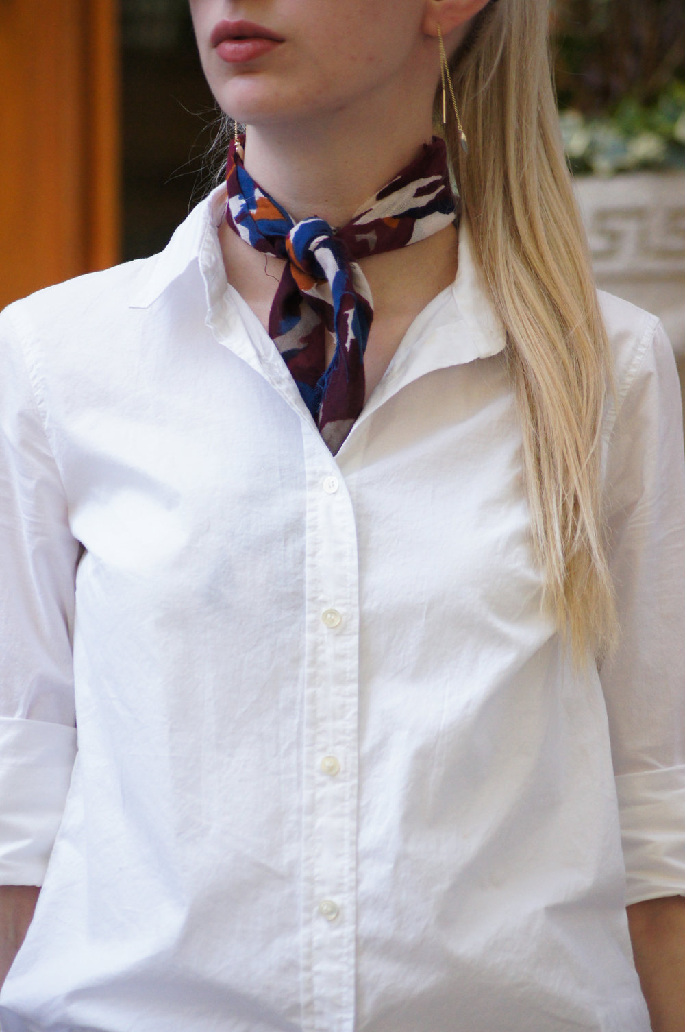 J.Crew white perfect shirt and wilderness knot tied neck scarf