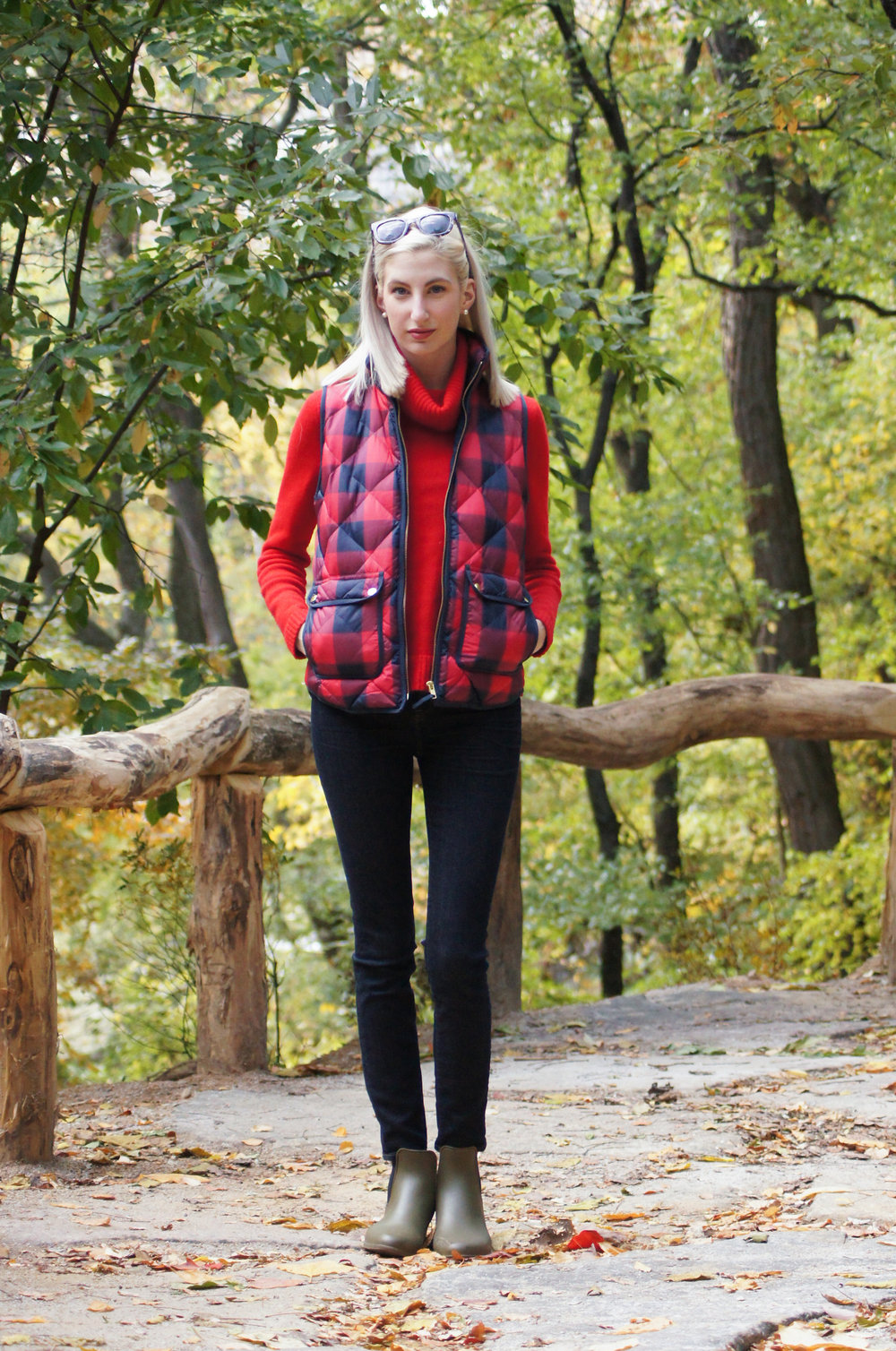 J.Crew matte rain boots, pixie pants, bright red turtle neck, buffalo check excursion puffer vest