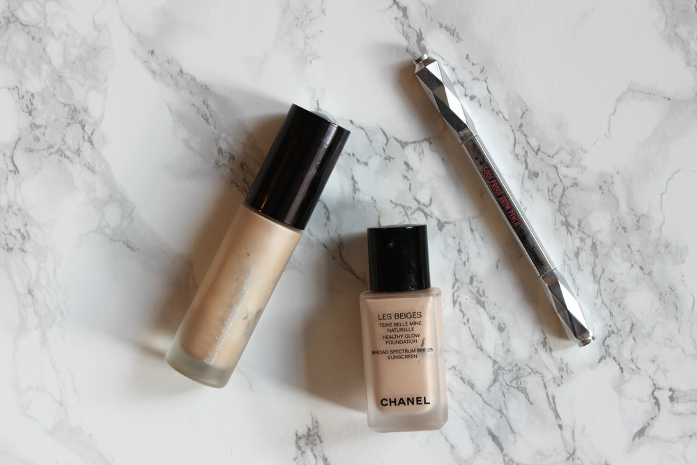 Becca Backlight Primer, CHANEL LEs Beiges foundation, Benefit Goof Proof Brow Pencil