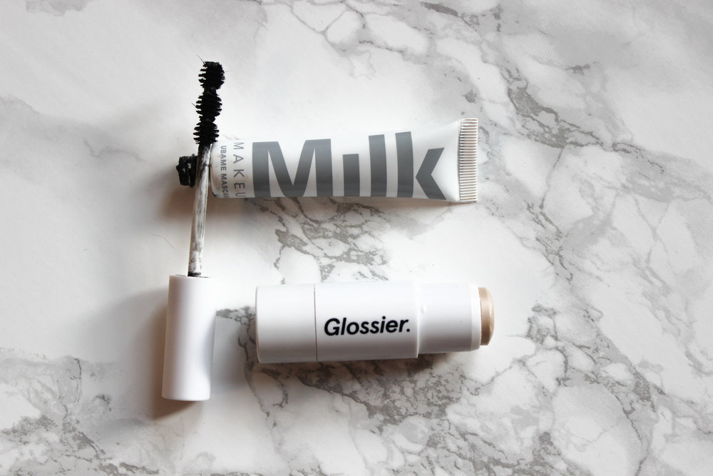 Milk makeup ubame mascara, glossier haloscope in Rose Quartz