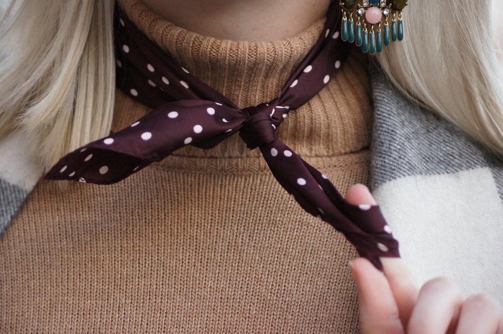 WhoWhatWear Target Burgundy polka dotted silk neck scarf