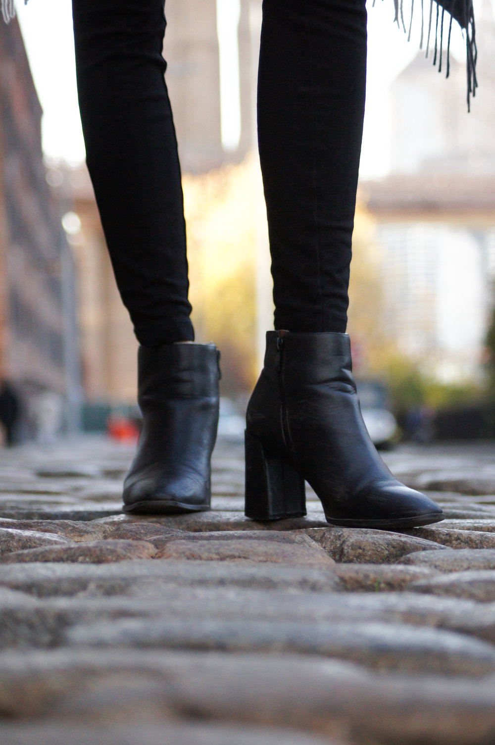black block heeled ankle boots