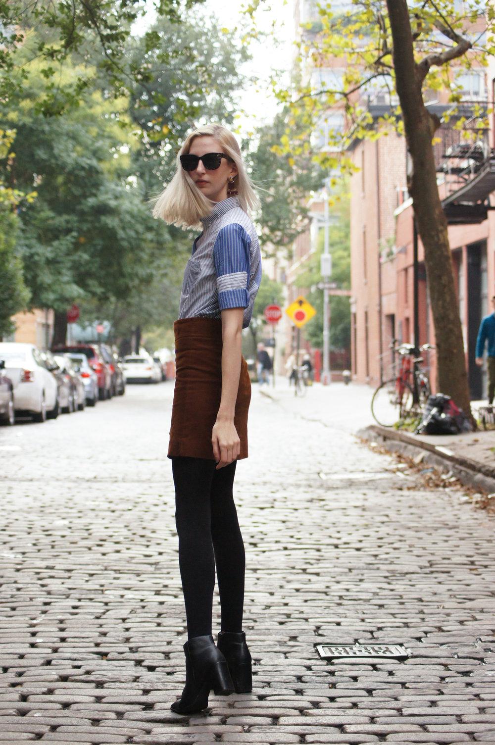 favorite style posts of 2016 - striped cocktail shirt, brown courduroy skirt, black block heel booties