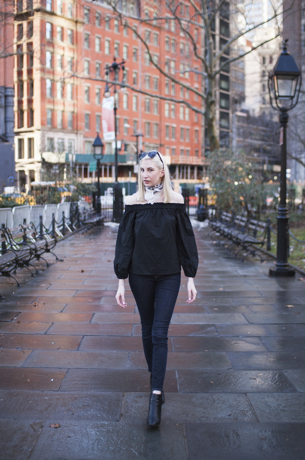 J.Crew black longsleeve off the shoulder top, lookout high rise jeans, black block heel ankle boots, white bandana neck scarf, ear crawlers from Rocksbox