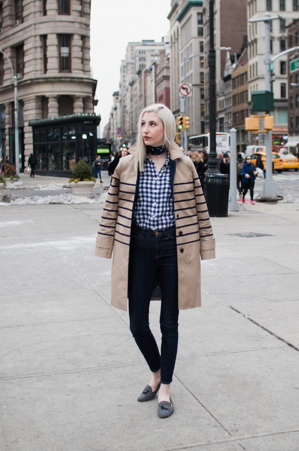 J.Crew Striped trench, gingham button down, star bandana neck scarf, high waisted jeans, horse loafers, preppy nyc street style