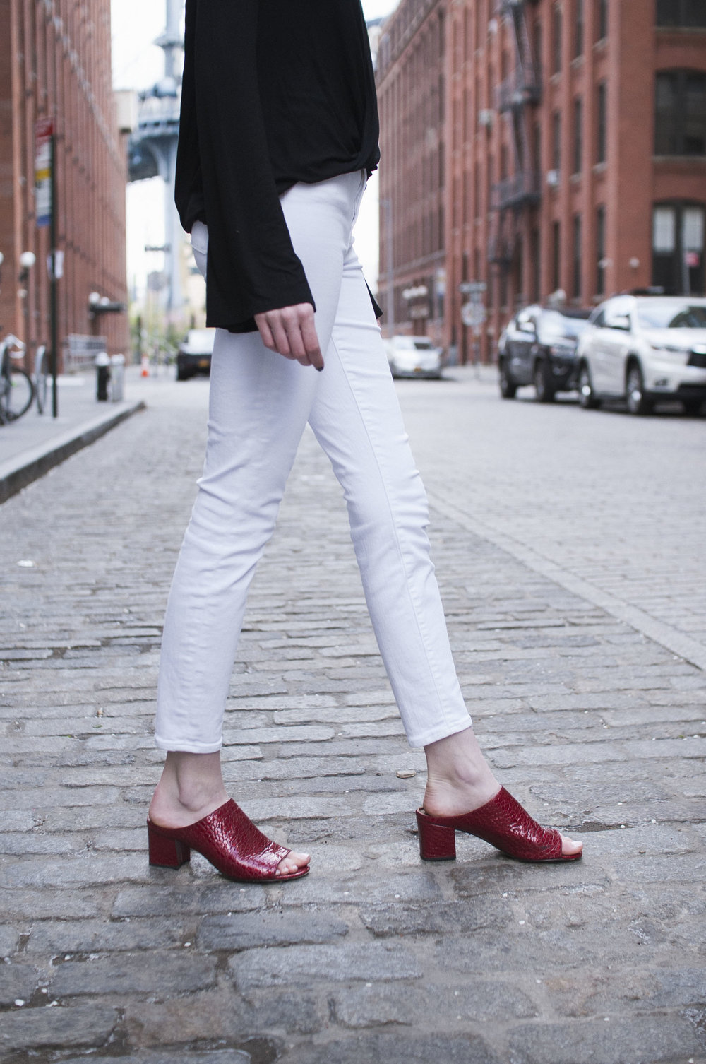 Donald J Pliner red heeled mules, J.Crew high waisted jeans, Tobi surplice top, J.Crew berry print bandana