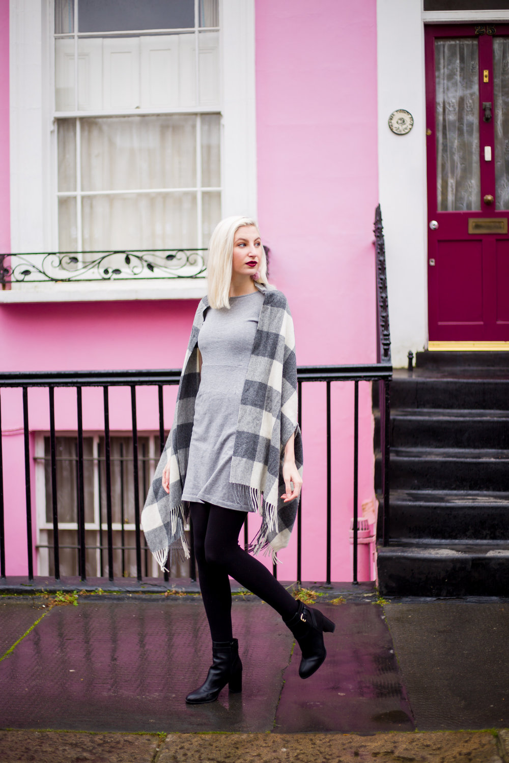 J.Crew simple everyday dress, checkered cape scarf, furry pink pom pom earrings, notting hill london UK